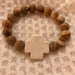 Desert Jasper and White Stone Cross Bracelet